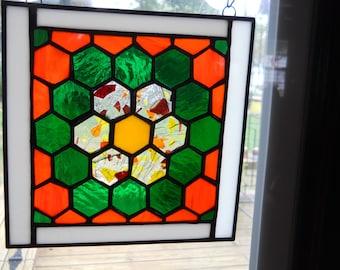 Grandmother's flower garden quilt block