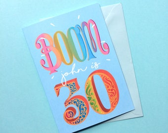 30th Personalised Birthday Card - BOOM You're 30 - Personalized 30th Birthday Card - Customised 30th Card - Customized 30th Birthday Card