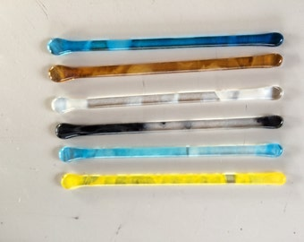 Multicoloured fused glass drinks stirrers / swizzle sticks
