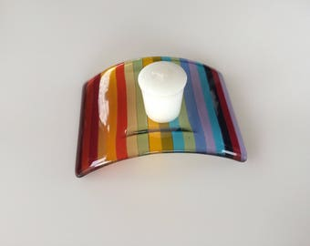 Rainbow striped fused glass candle holder, candle stand, tea light holder