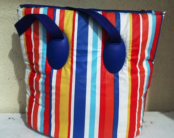 Cooler bag insulated beach cooler bag with zipper striped cooler tote retro picnic cooler vintage 1990s