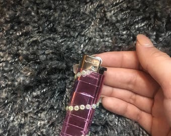 Pink metallic rhinestone lighter