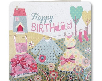 Sale! 70% off Was 3.25 now 0.98p Festive Folk Collection - Happy Birthday - Birthdya Card for Her -  Handmade - Floral -  FE59