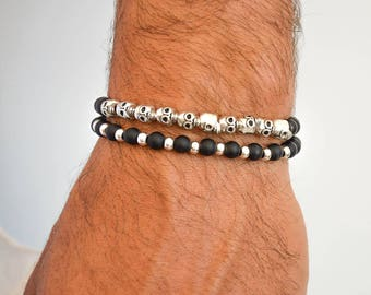 Mens Beaded Bracelets, Mens Black and Silver Bracelets, Mens Skull Bracelet, Black and Silver Beads Bracelets, Made in Greece.