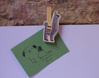 Ceramic Lamas Clothespins/ Wooden Clothespin/ Clips/ Ceramic Hairpin