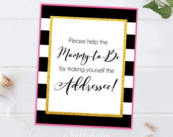 Envelope Station Sign Black White Stripes Pink Gold Table Signs Baby Shower Signs - Make Yourself Addressee 015