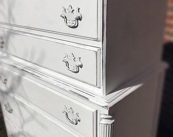 Gorgeous Vintage /Rustic Dresser Farmhouse / Rustic Cottage Style Vintage Tall Boy Dresser/Vintage Babyroom Dresser