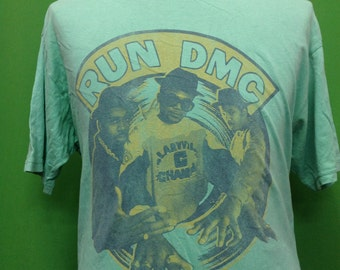 Rare RUN DMC It's Tricky 1986 song title Large size tshirt Made in USA