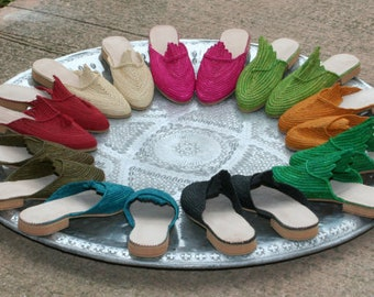 rafia Moroccan handmade shoes made of natural raffia, leather and rubber soles. soft and extremely comfortable!