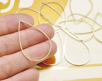 30Pcs Raw Brass Drop Pendant Charms,Tear  Drop Connector,39x25mm - D53925