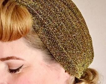 """Vintage style turban, boho turban, The """"Lana""""40s style, lurex turban, gold turban, glitter turbans, pin up style, gift for her, ANTIQUE GOLD"""