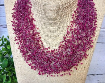 Bordo necklace pomegranate multistrand everyday statement unusual gift red wine airy crochet beaded beadwork cobweb gift for her bridesmaid