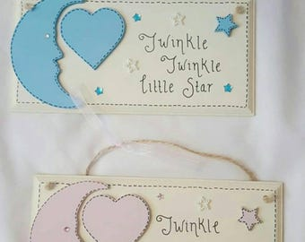 Personalised Baby plaque- custom colours. Baby's name, weight, D.o.b and time can be added. New baby gift, nursery decor.
