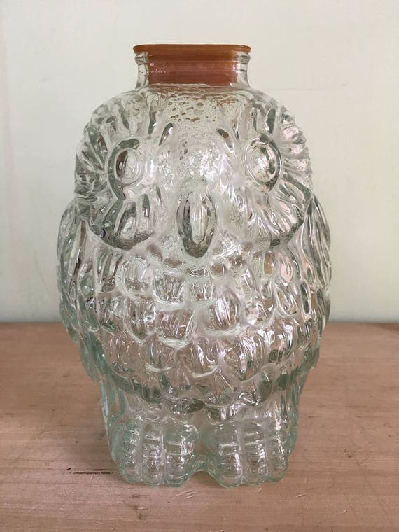 Vintage wise old owl clear glass bank collectable glass - Wise old owl glass bank ...