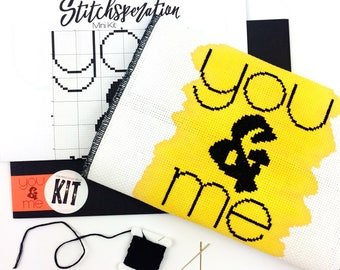 You & Me // Modern cross stitch mini kit with one-of-a-kind hand painted fabric // Quick project, Anniversary, Wedding Gift, Modern Design