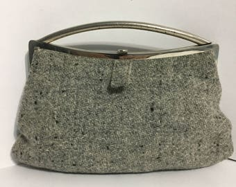 Gray Fabric Handbag - Gray Purse - Retro Purse - Silver Tone - Wool
