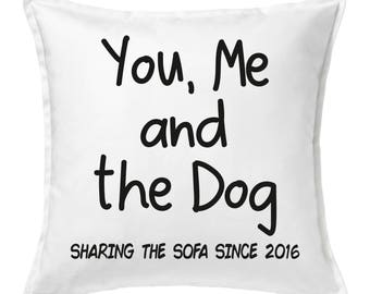 Personalised You, Me and the Dog Cushion
