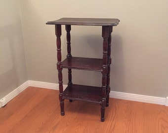 Vintage Side Table, Wood End Table, Distressed Shabby Chic Table With  Shelves, Dark