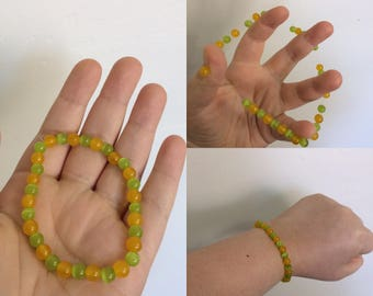 Yellow Jade and Lime Green Cat Eyes Bracelet