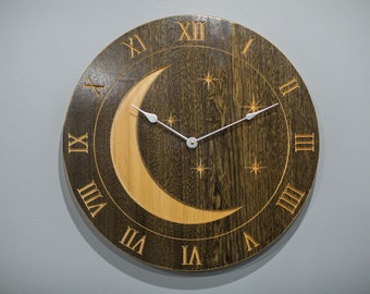 Moon and Stars Carved on American Elm Large Wall Clock