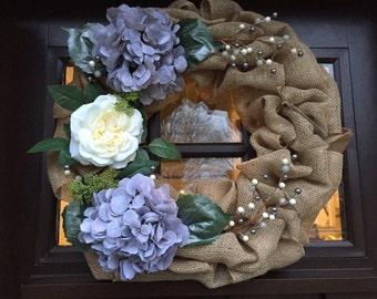 Winter Hydrangea and rose burlap wreath