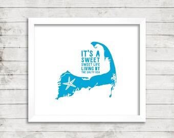Cape Cod, Beach House, Starfish, Ocean, Beach, Zac Brown Band, Art Print, Wall Art, Sweet Life, Sea, Coastal
