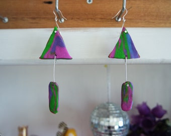 Marble Triangular Earrings