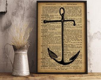 Anchor Print Art, Anchor Wall Art, Anchor Print, Nautical Wall Art, Gift for sailor, beach decor, Nautical Beach Print (K12)