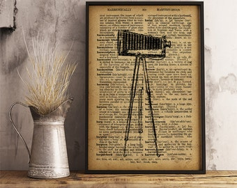Vintage camera tripod print, Old Photographic Equipment, Antique Camera, Photographic Equipment poster, photographer gift (V07)