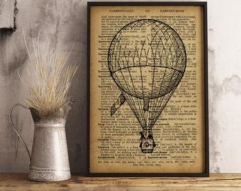 Vintage Hot Air Balloon Dictionary Art Print, Hot Air Balloon print Wall Art Office Decor Hot Air Balloon Poster (A08)