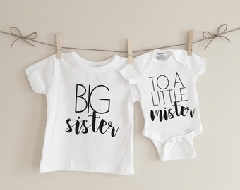 Big sister to a little mister sibling set, big sister shirt, baby onesie, pregnancy announcement, baby bodysuit, kids clothing
