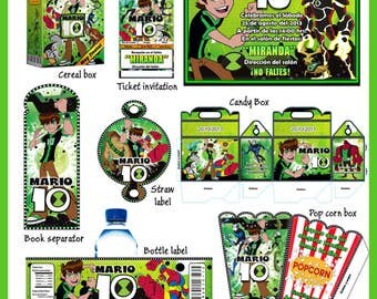 Ben 10 Omniverse Party Package, DIY, Printable Party Kit, Invitations, Banner, Favour Box, Labels, Wrappers, Candy Box, Instant Download !