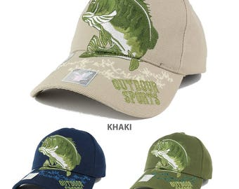 Bass Fish Outdoor Sports Embroidered Adjustable Baseball Cap - 3 Colors! (VM207-BASS)