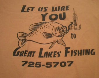 usa made Vintage Great Lakes Fishing Tee Shirt SMALL Fruit of the Loom BEST 1990s