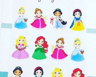 Mini Christmas Princess Stickers - Perfect for Erin Condren Life Planners / Journals / Stickers