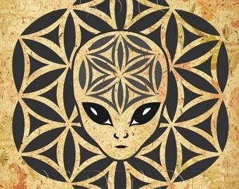 Mandala alien SVG, mandala wall art, alien shirt, alien sticker, alien SVG, mandala art, mandala tattoo, t shirt design, stencil vinyl