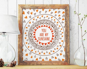 You Are My Sunshine, Orange Brown Nursery Wall Art, Kids Room Decor, Sunshine Art, Pen Drawn Art
