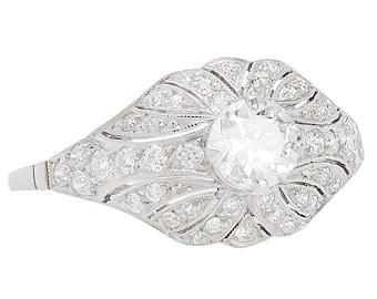 Vintage Diamond Engagement Ring | Estate Engagement Ring in Platinum | Antique Diamonds | Old European Diamond Ring || 17528