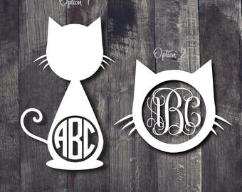 Cat Monogram Decal, Cat Lover Decal, Cat Decal, Monogram Decal, Cat Monogram Car Decal, Cat Monogram Yeti Decal