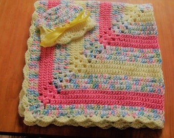 NEW Handmade Crochet Baby Blanket and Hat/Beanie Set - Yellow & Peach Variegated - A Wonderful Baby Shower Gift!! - SEE NOTE!