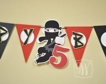 Ninja Theme Birthday Party Banner - Ninja Birthday - Ninja Party - Ninja Decorations - Ninja Banner