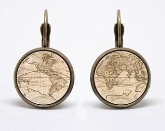 Globe earrings World map earrings Vintage map Globe jewelry Travel earrings World jewellery World map jewelry Old map earrings Traveler gift
