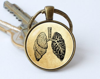 Human lungs keychain Anatomy keyring Lungs jewellery Biology key chain Medical keyring Lungs jewelry Vintage style Anatomical jewelry Doctor