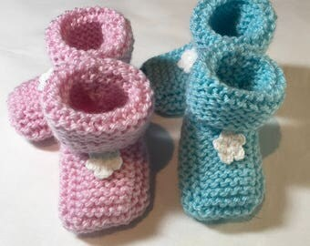 Hand Knitted 'Ballet' Pink Booties with Knitted Flower