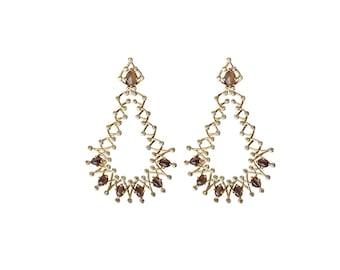 Catinya Dangle - Statement Earrings - Gold Earrings - 18K Gold Plated Statement Earrings - Cat's Eye - Edgy Earrings - Exquisite Earrings