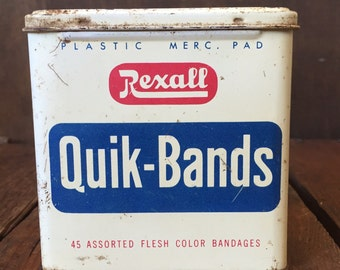 Vintage Rexall Quik- Bands Plastic Bandages Tin. Vintage Advertising, Collectible Tin, Vintage Tin, Mid-Century, Vintage Bathroom, Bathroom.