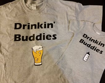 Father and son drinking buddies shirts set of two