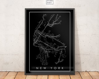 NYC Subway Map, Original artwork, Poster art, Wall art, Digital print, Printable poster, Download, Home decor, Art gift, modern decor