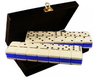 Double 6 Two Tone Colors Engraved Dominoes in Velvet Box (Blue&White)