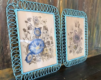 Vintage framed Floral Painting in Turquoise Spiral Wire Frame *set of two*